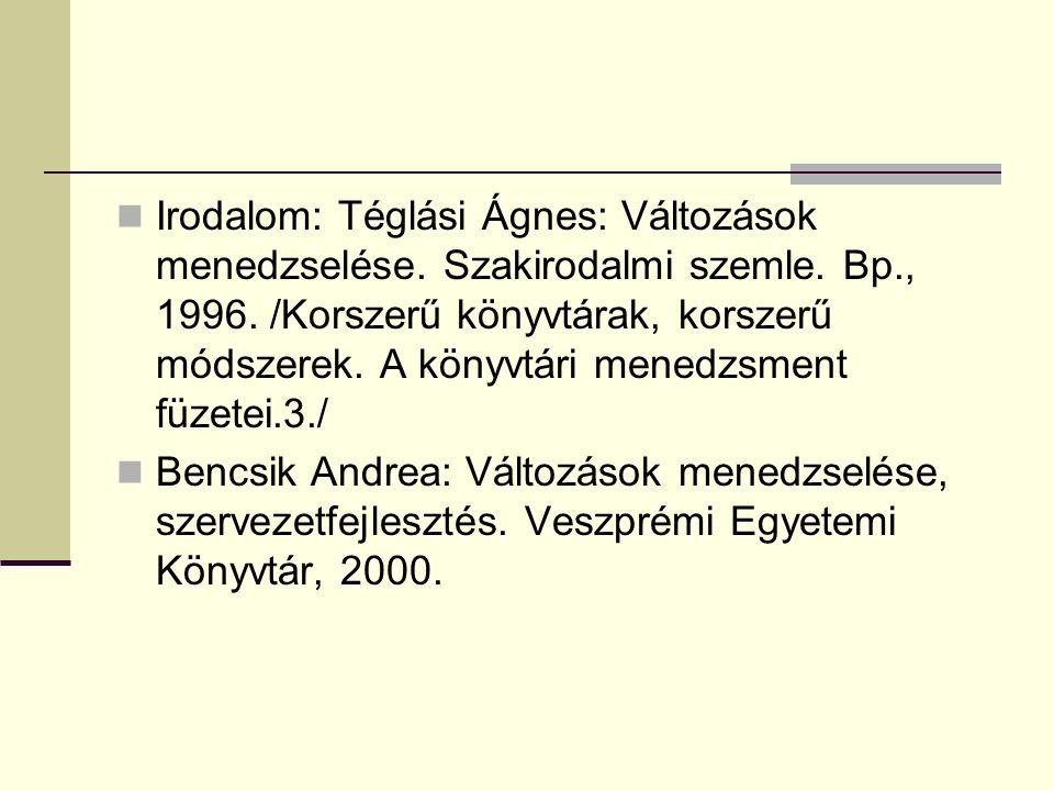 Irodalom: Téglási Ágnes: Változások menedzselése. Szakirodalmi szemle. Bp., 1996. /Korszerű könyvtárak, korszerű módszerek. A könyvtári menedzsment fü