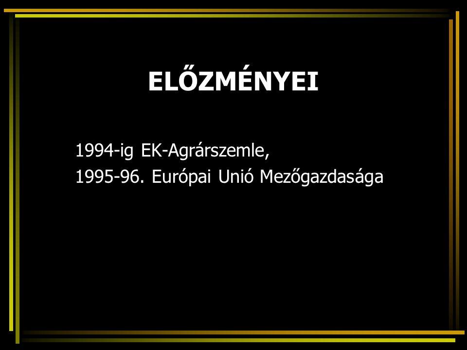 ELŐZMÉNYEI 1994-ig EK-Agrárszemle, 1995-96. Európai Unió Mezőgazdasága