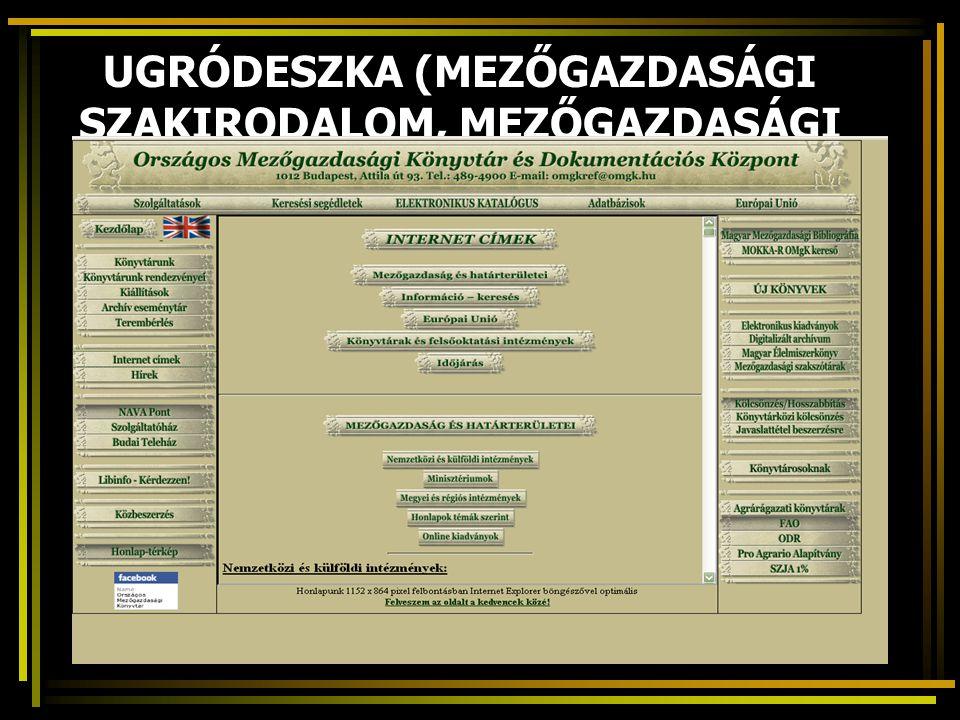 UGRÓDESZKA (MEZŐGAZDASÁGI SZAKIRODALOM, MEZŐGAZDASÁGI KUTATÁS)