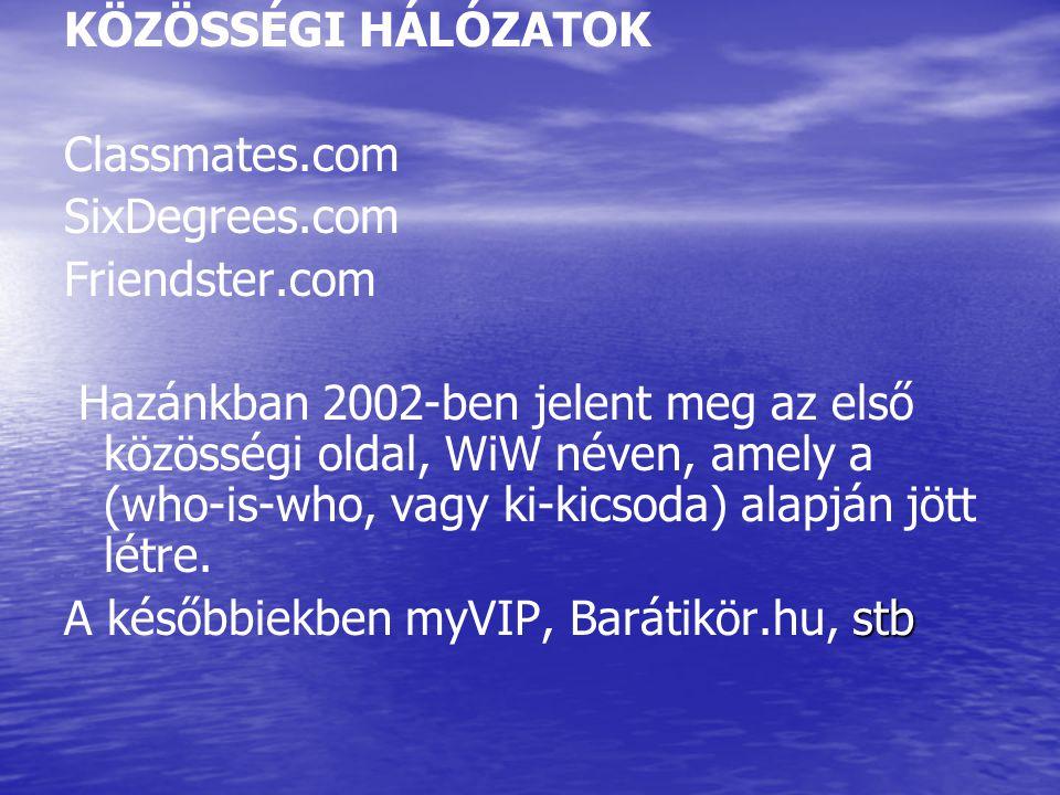 KÖZÖSSÉGI HÁLÓZATOK Classmates.com SixDegrees.com Friendster.com Hazánkban 2002-ben jelent meg az első közösségi oldal, WiW néven, amely a (who-is-who, vagy ki-kicsoda) alapján jött létre.