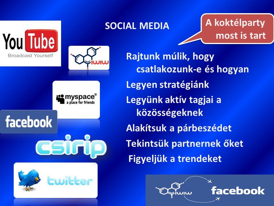 SOCIAL MEDIA Rajtunk múlik, hogy csatlakozunk-e és hogyan Legyen stratégiánk Legyünk aktív tagjai a közösségeknek Alakítsuk a párbeszédet Tekintsük partnernek őket Figyeljük a trendeket A koktélparty most is tart