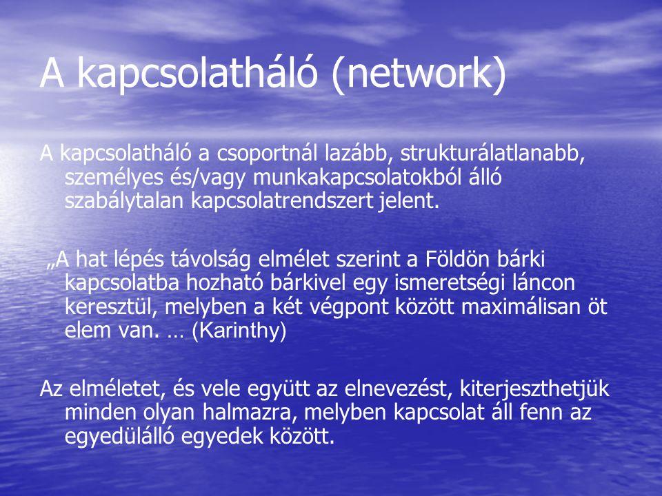 A kapcsolatháló (network) A kapcsolatháló a csoportnál lazább, strukturálatlanabb, személyes és/vagy munkakapcsolatokból álló szabálytalan kapcsolatrendszert jelent.