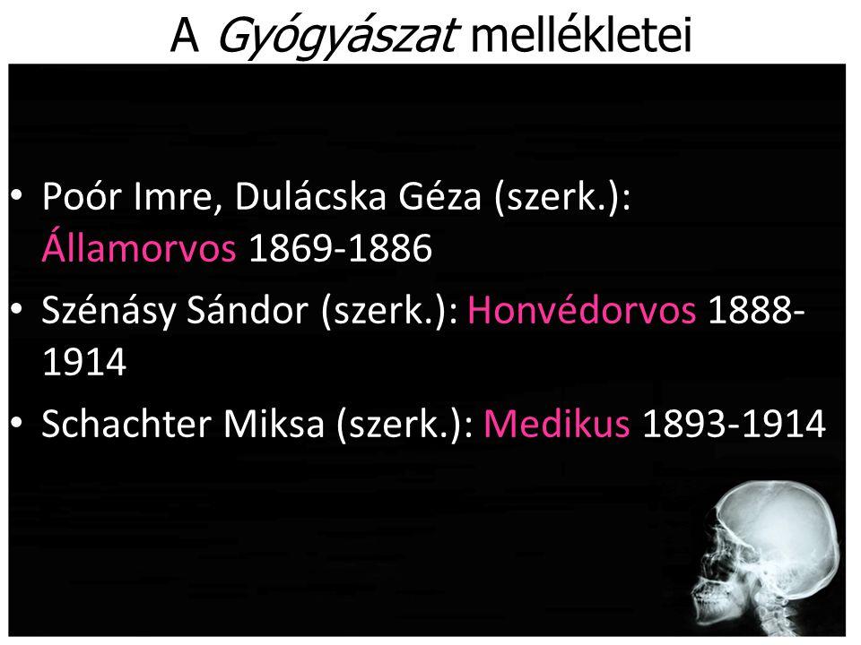 A Gyógyászat mellékletei Poór Imre, Dulácska Géza (szerk.): Államorvos 1869-1886 Szénásy Sándor (szerk.): Honvédorvos 1888- 1914 Schachter Miksa (szer