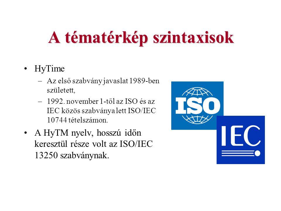A tématérkép szintaxisok HyTime –Az első szabvány javaslat 1989-ben született, –1992. november 1-től az ISO és az IEC közös szabványa lett ISO/IEC 107