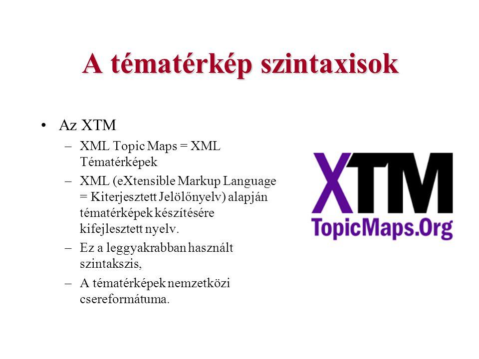 A tématérkép szintaxisok Az XTM –XML Topic Maps = XML Tématérképek –XML (eXtensible Markup Language = Kiterjesztett Jelölőnyelv) alapján tématérképek