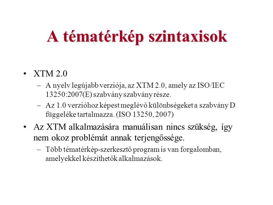 A tématérkép szintaxisok XTM 2.0 –A nyelv legújabb verziója, az XTM 2.0, amely az ISO/IEC 13250:2007(E) szabvány szabvány része. –Az 1.0 verzióhoz kép