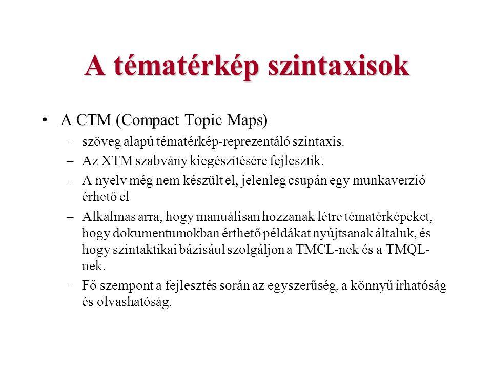 A tématérkép szintaxisok A CTM (Compact Topic Maps) –szöveg alapú tématérkép-reprezentáló szintaxis. –Az XTM szabvány kiegészítésére fejlesztik. –A ny
