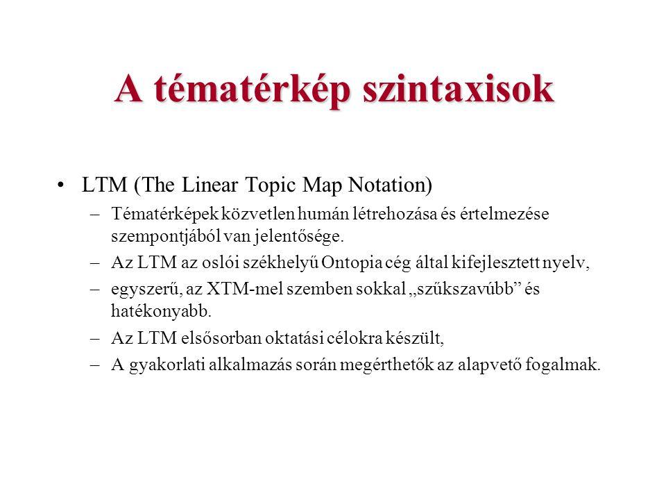 LTM (The Linear Topic Map Notation) –Tématérképek közvetlen humán létrehozása és értelmezése szempontjából van jelentősége. –Az LTM az oslói székhelyű