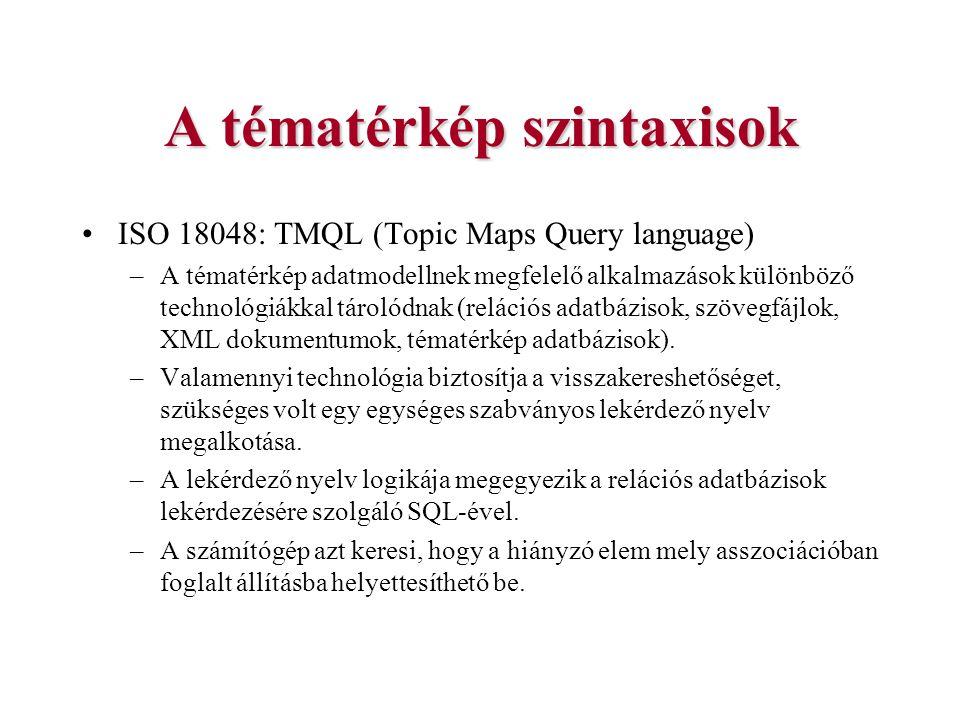 A tématérkép szintaxisok ISO 18048: TMQL (Topic Maps Query language) –A tématérkép adatmodellnek megfelelő alkalmazások különböző technológiákkal táro