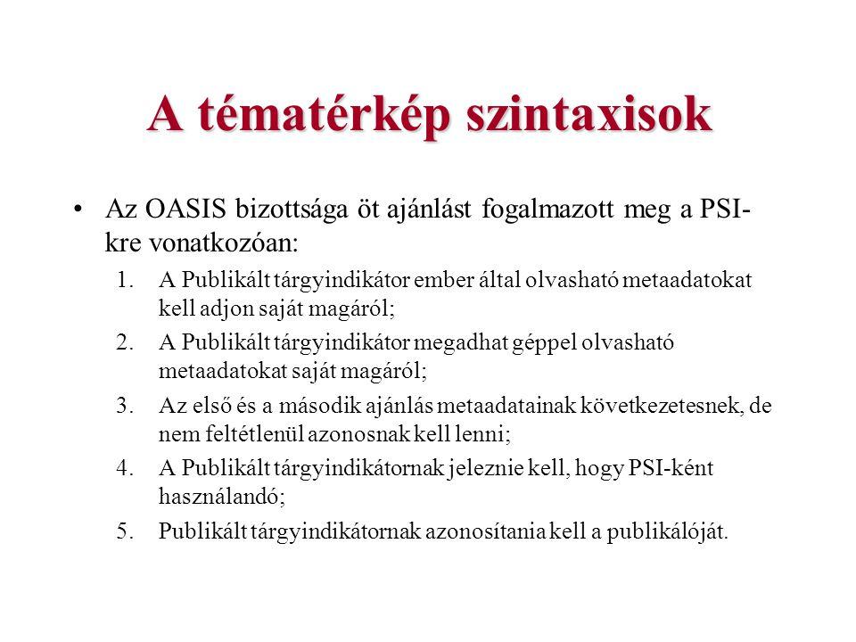 A tématérkép szintaxisok Az OASIS bizottsága öt ajánlást fogalmazott meg a PSI- kre vonatkozóan: 1.A Publikált tárgyindikátor ember által olvasható me