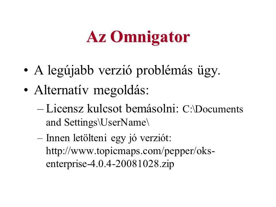 Az Omnigator A legújabb verzió problémás ügy. Alternatív megoldás: –Licensz kulcsot bemásolni: C:\Documents and Settings\UserName\ –Innen letölteni eg
