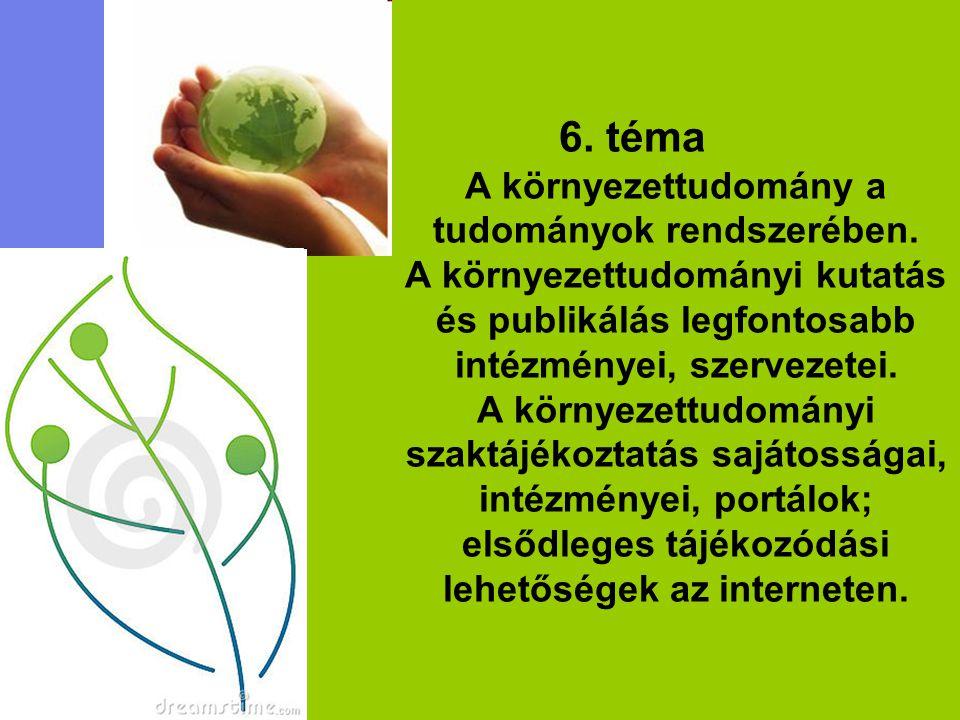 6. téma A környezettudomány a tudományok rendszerében. A környezettudományi kutatás és publikálás legfontosabb intézményei, szervezetei. A környezettu