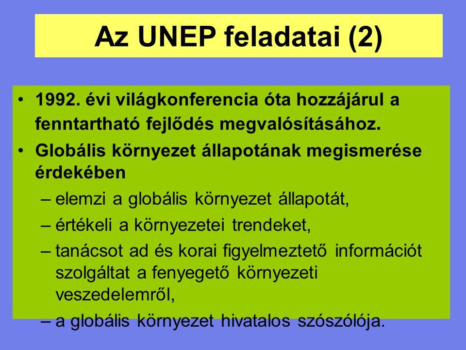 Az UNEP feladatai (2) 1992. évi világkonferencia óta hozzájárul a fenntartható fejlődés megvalósításához. Globális környezet állapotának megismerése é