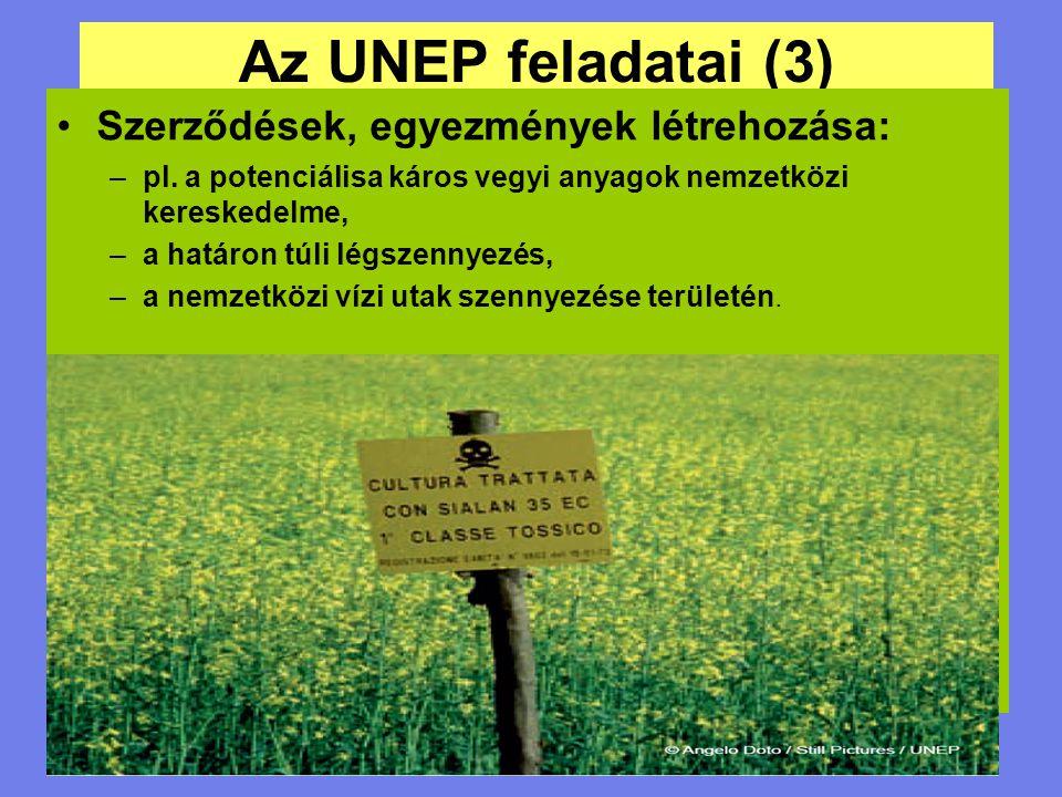 Az UNEP feladatai (3) Szerződések, egyezmények létrehozása: –pl. a potenciálisa káros vegyi anyagok nemzetközi kereskedelme, –a határon túli légszenny