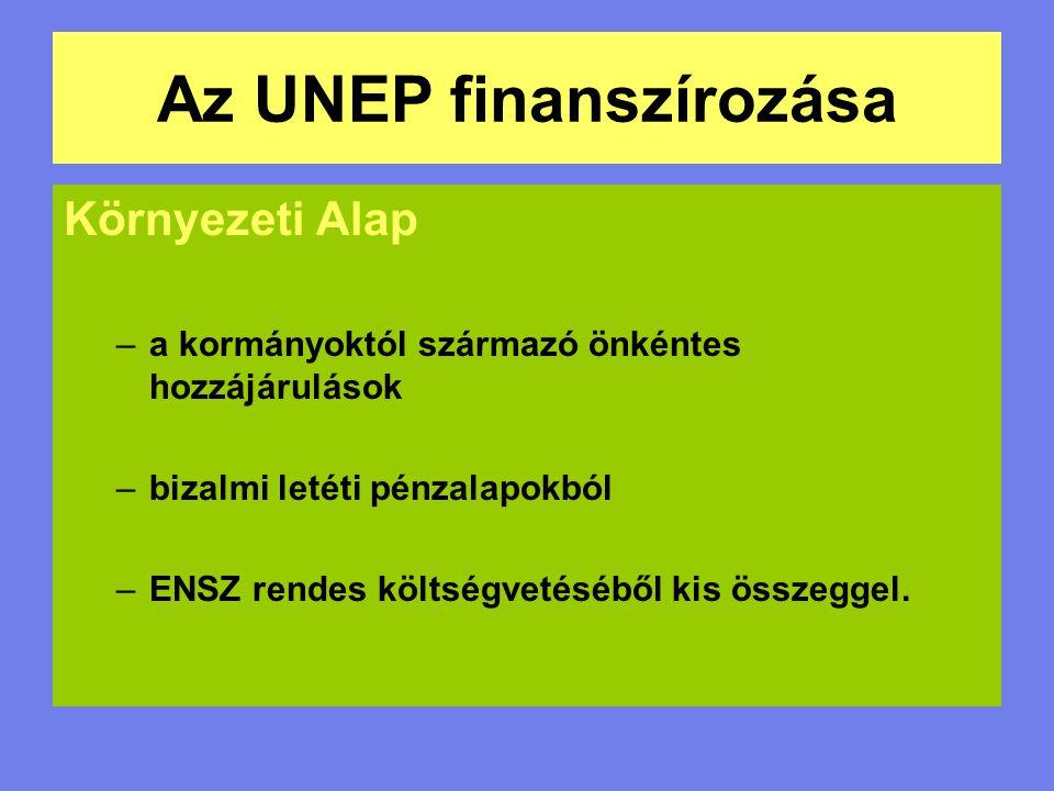 Az UNEP finanszírozása Környezeti Alap –a kormányoktól származó önkéntes hozzájárulások –bizalmi letéti pénzalapokból –ENSZ rendes költségvetéséből ki