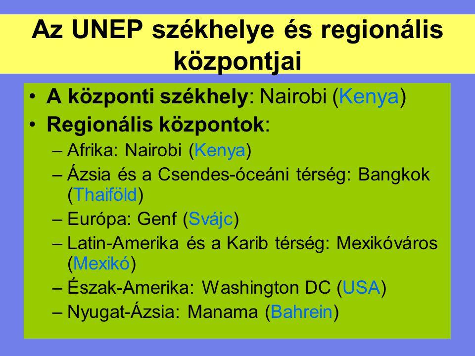 A központi székhely: Nairobi (Kenya) Regionális központok: –Afrika: Nairobi (Kenya) –Ázsia és a Csendes-óceáni térség: Bangkok (Thaiföld) –Európa: Gen