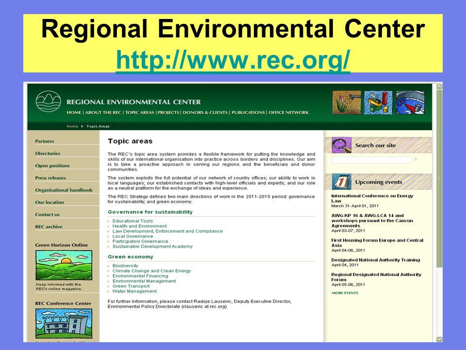 Regional Environmental Center http://www.rec.org/ http://www.rec.org/