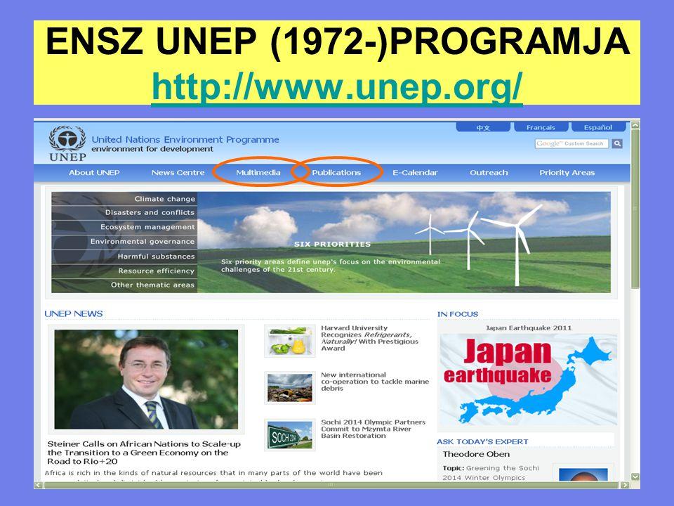 Az UNEP küldetése Az ENSZ szakosított szervezetein ( pl.