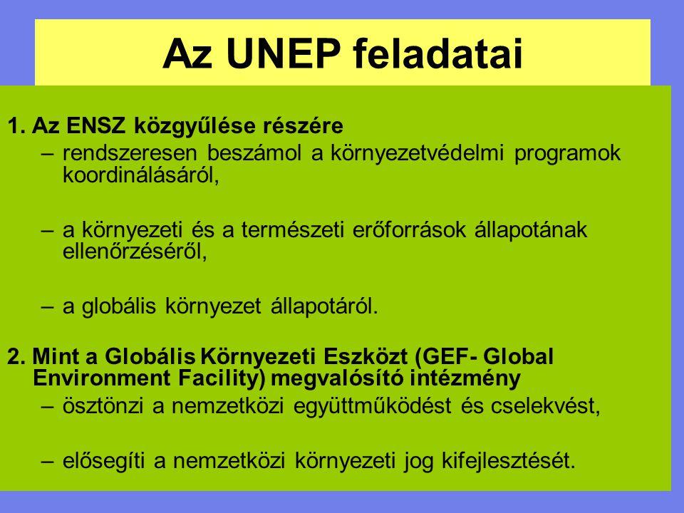 Az UNEP feladatai (1) 1.A környezet és a természeti erőforrások védelme, ennek érdekében ösztönzi az elfogadott nemzetközi normák és előírások megvalósítását, előmozdítja a közös cselekvést a környezeti kihívásokra.