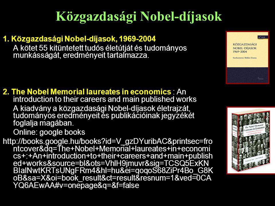 Közgazdasági Nobel-díjasok 1.