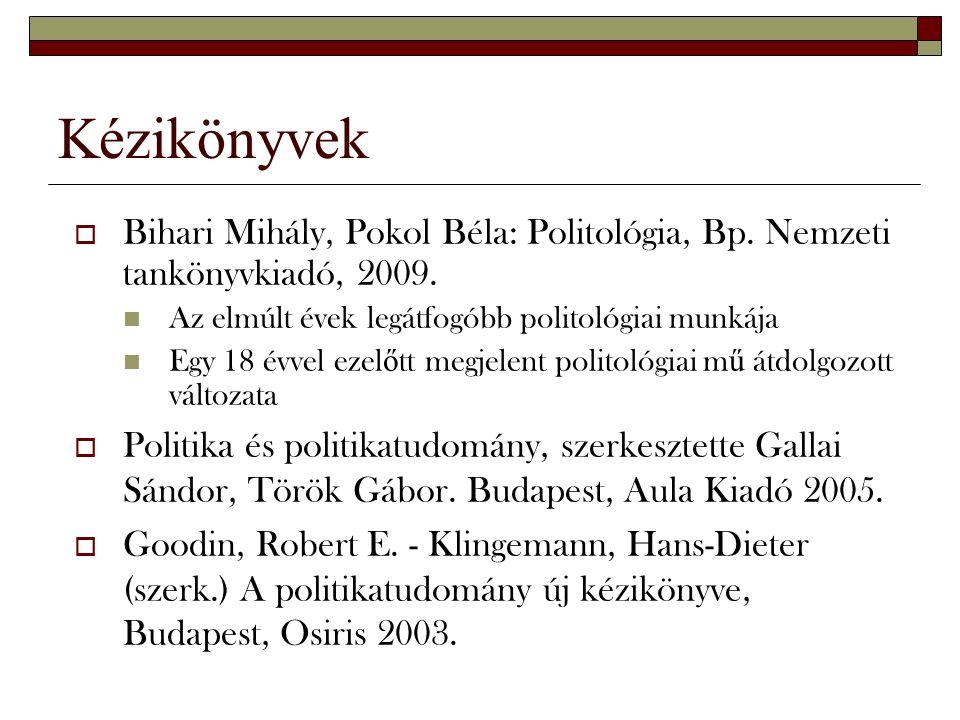 Kézikönyvek  Bihari Mihály, Pokol Béla: Politológia, Bp. Nemzeti tankönyvkiadó, 2009. Az elmúlt évek legátfogóbb politológiai munkája Egy 18 évvel ez