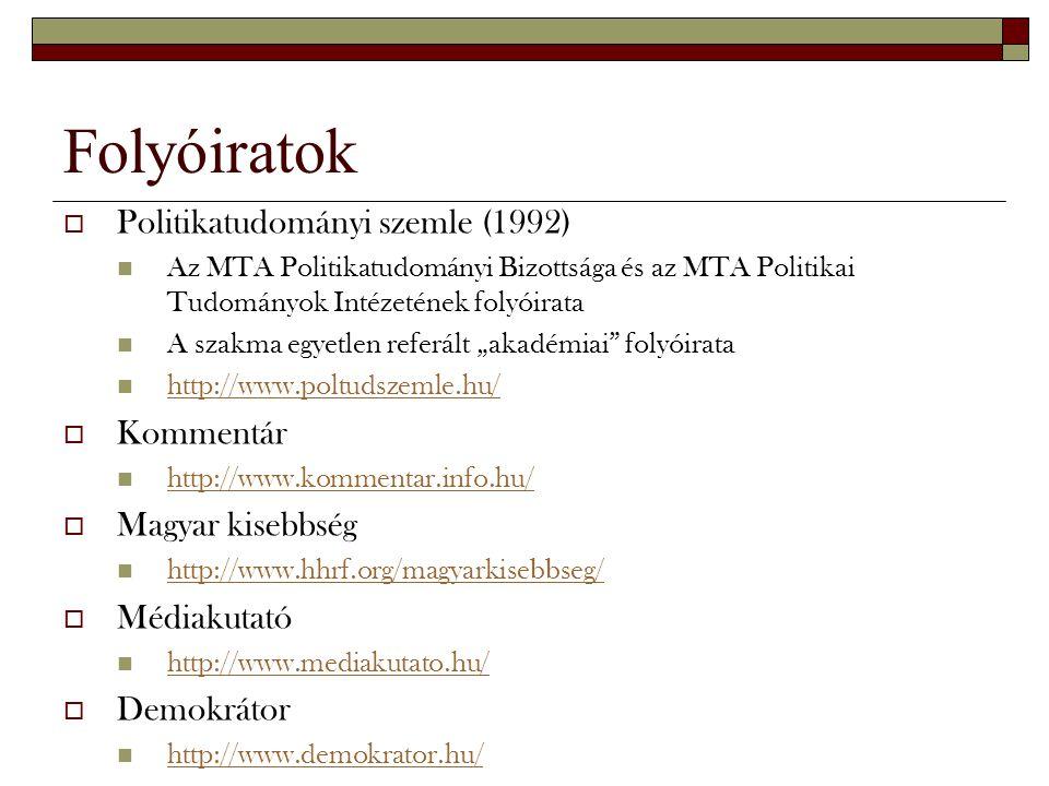 Folyóiratok  Politikatudományi szemle (1992) Az MTA Politikatudományi Bizottsága és az MTA Politikai Tudományok Intézetének folyóirata A szakma egyet