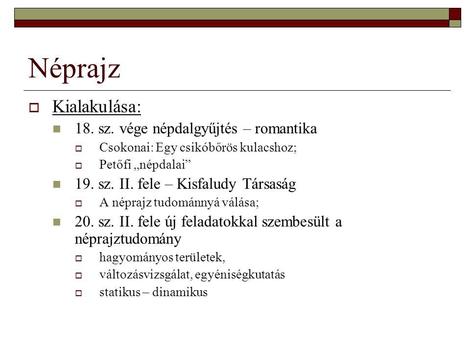 """Néprajz  Kialakulása: 18. sz. vége népdalgyűjtés – romantika  Csokonai: Egy csikóbőrös kulacshoz;  Petőfi """"népdalai"""" 19. sz. II. fele – Kisfaludy T"""