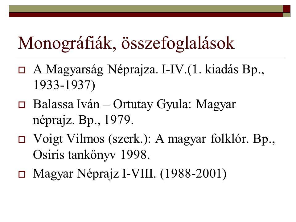 Monográfiák, összefoglalások  A Magyarság Néprajza. I-IV.(1. kiadás Bp., 1933-1937)  Balassa Iván – Ortutay Gyula: Magyar néprajz. Bp., 1979.  Voig