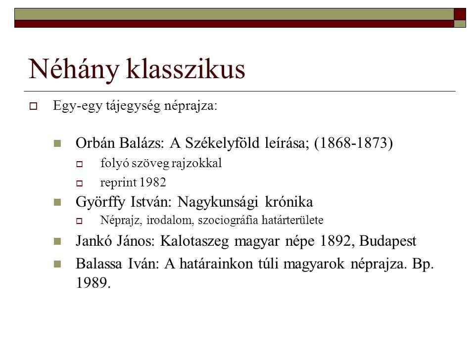Néhány klasszikus  Egy-egy tájegység néprajza: Orbán Balázs: A Székelyföld leírása; (1868-1873)  folyó szöveg rajzokkal  reprint 1982 Györffy Istvá