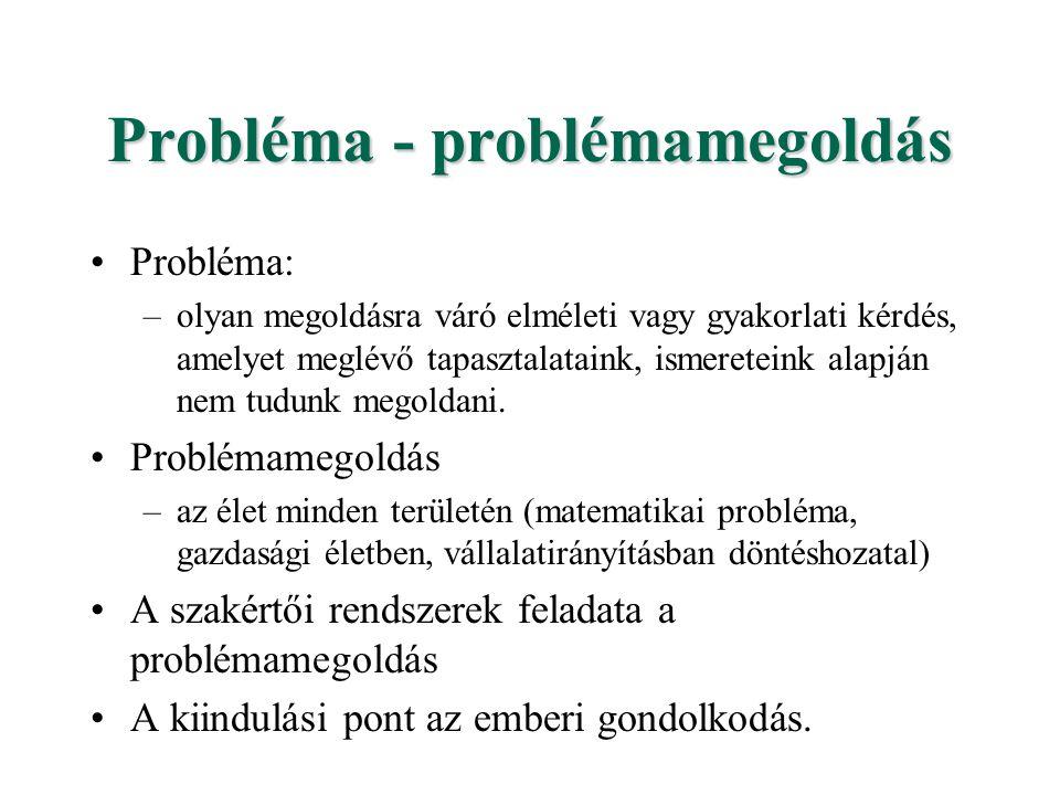 Probléma - problémamegoldás Az emberi problémamegoldást az alábbi képességek segítik (a MI szempontjai szerinti csoportosításban): –hatékony problémamegoldási képesség - bonyolult, több alternatív lehetőséget magában rejtő problémák esetén is; –kommunikációs képesség magyarázatadási képesség természetes nyelven történő információcsere érzékelési képesség, környezetmanupilációs képesség