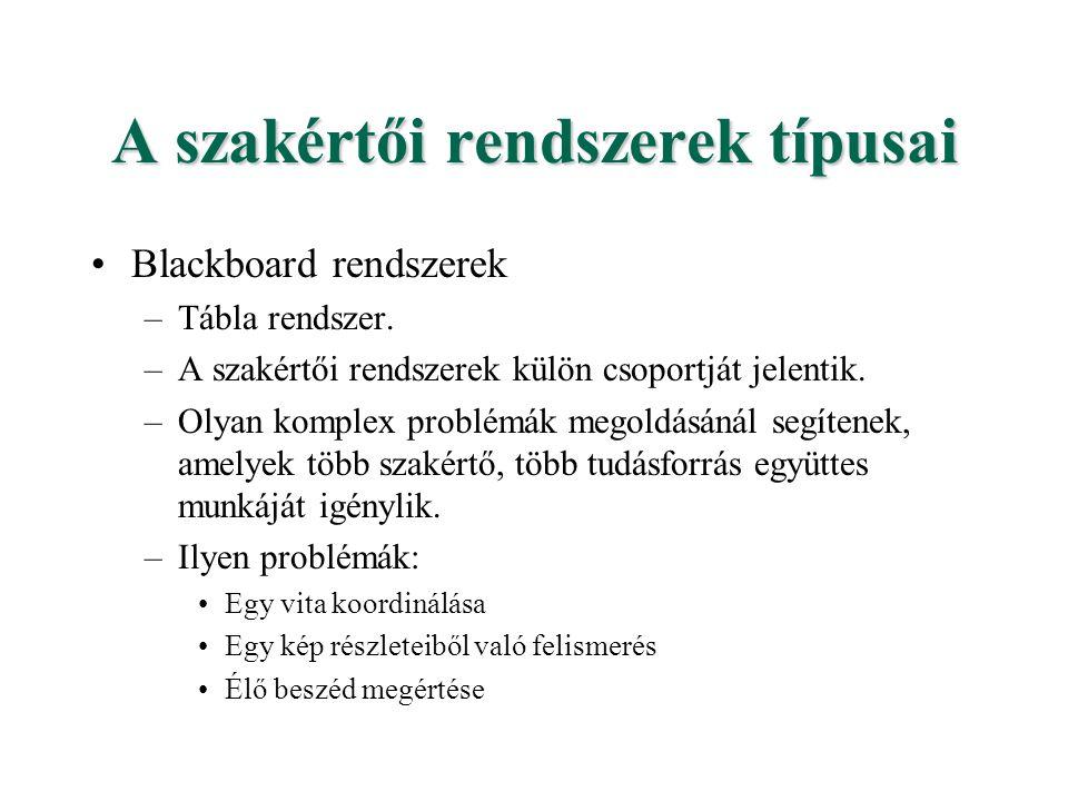 A szakértői rendszerek típusai Blackboard rendszerek –Tábla rendszer. –A szakértői rendszerek külön csoportját jelentik. –Olyan komplex problémák mego