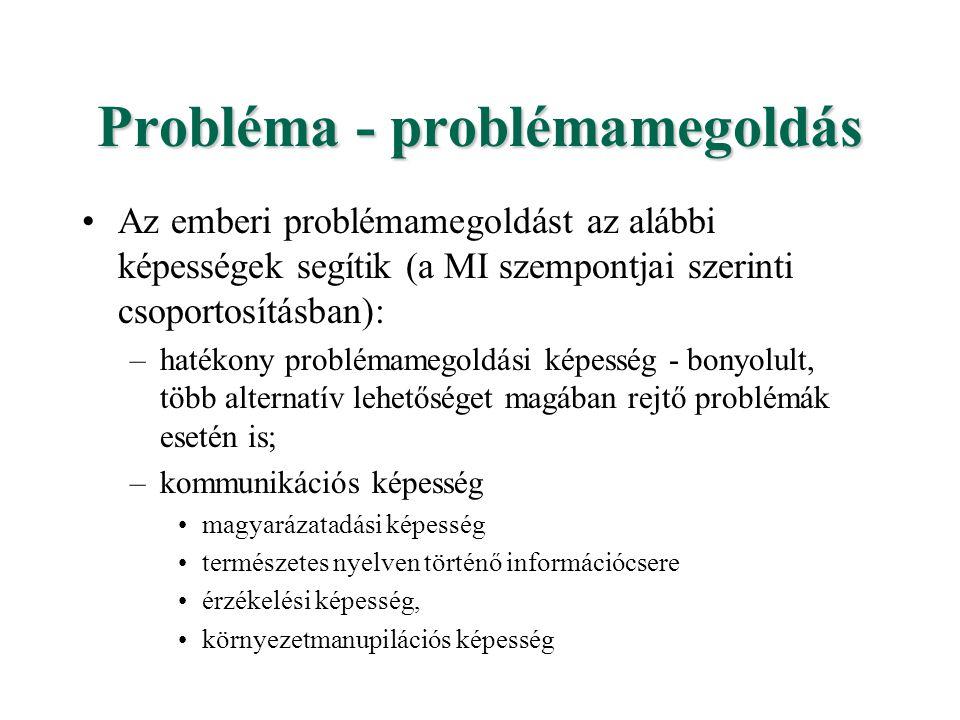 Probléma - problémamegoldás Az emberi problémamegoldást az alábbi képességek segítik (a MI szempontjai szerinti csoportosításban): –hatékony problémam