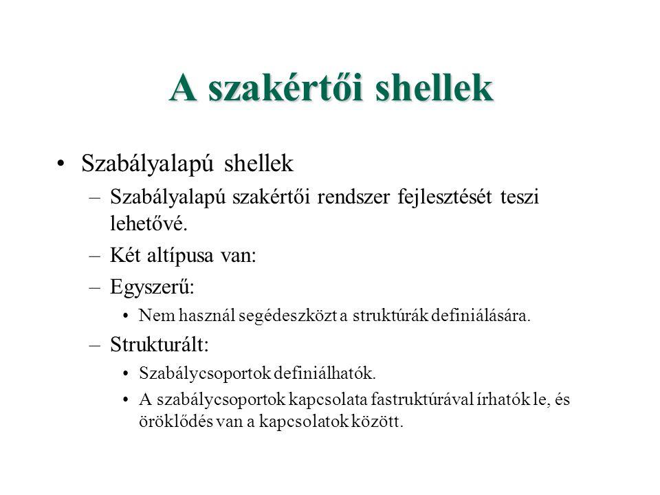 A szakértői shellek Szabályalapú shellek –Szabályalapú szakértői rendszer fejlesztését teszi lehetővé. –Két altípusa van: –Egyszerű: Nem használ segéd