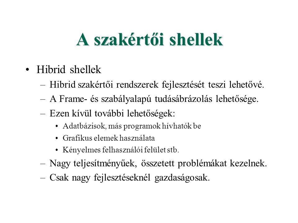 A szakértői shellek Hibrid shellek –Hibrid szakértői rendszerek fejlesztését teszi lehetővé. –A Frame- és szabályalapú tudásábrázolás lehetősége. –Eze