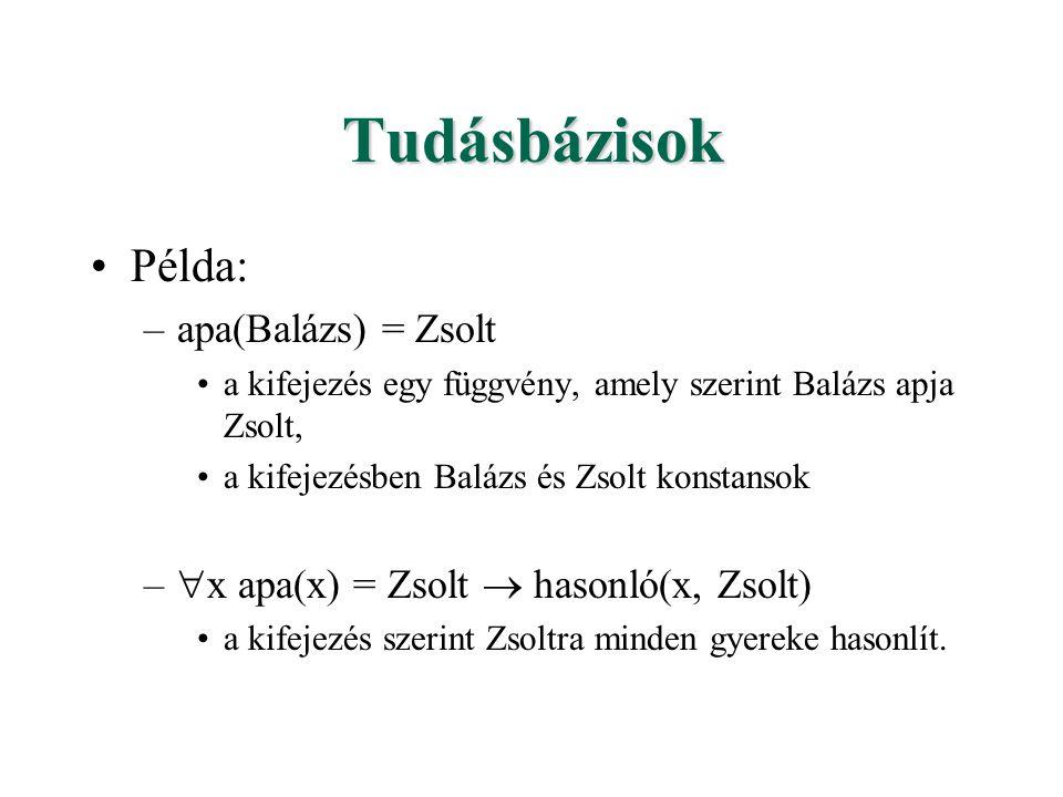 Tudásbázisok Példa: –apa(Balázs) = Zsolt a kifejezés egy függvény, amely szerint Balázs apja Zsolt, a kifejezésben Balázs és Zsolt konstansok –  x apa(x) = Zsolt  hasonló(x, Zsolt) a kifejezés szerint Zsoltra minden gyereke hasonlít.