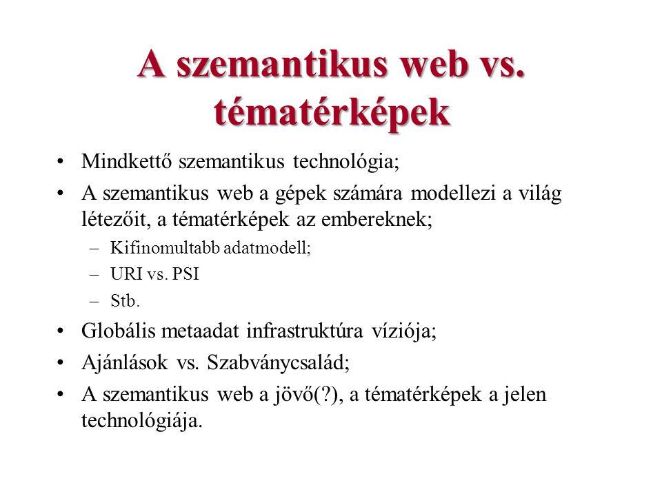 A szemantikus web vs. tématérképek Mindkettő szemantikus technológia; A szemantikus web a gépek számára modellezi a világ létezőit, a tématérképek az