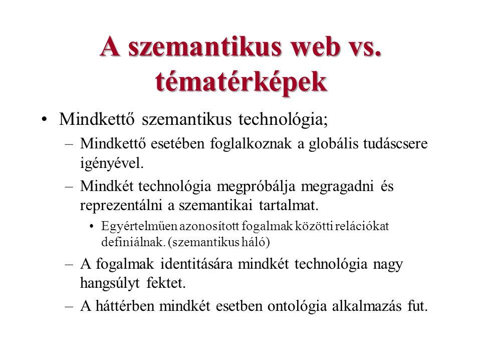 A szemantikus web vs. tématérképek Mindkettő szemantikus technológia; –Mindkettő esetében foglalkoznak a globális tudáscsere igényével. –Mindkét techn