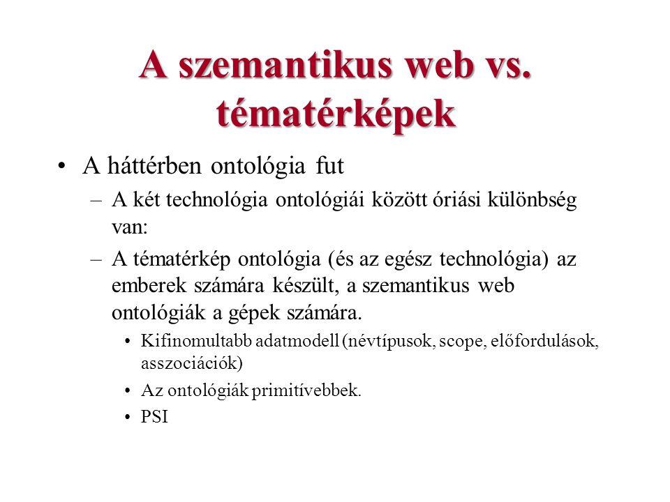 A szemantikus web vs. tématérképek A háttérben ontológia fut –A két technológia ontológiái között óriási különbség van: –A tématérkép ontológia (és az