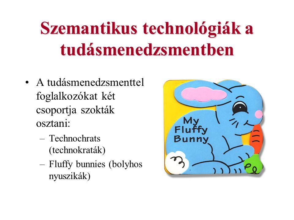 Szemantikus technológiák a tudásmenedzsmentben A tudásmenedzsmenttel foglalkozókat két csoportja szokták osztani: –Technochrats (technokraták) –Fluffy