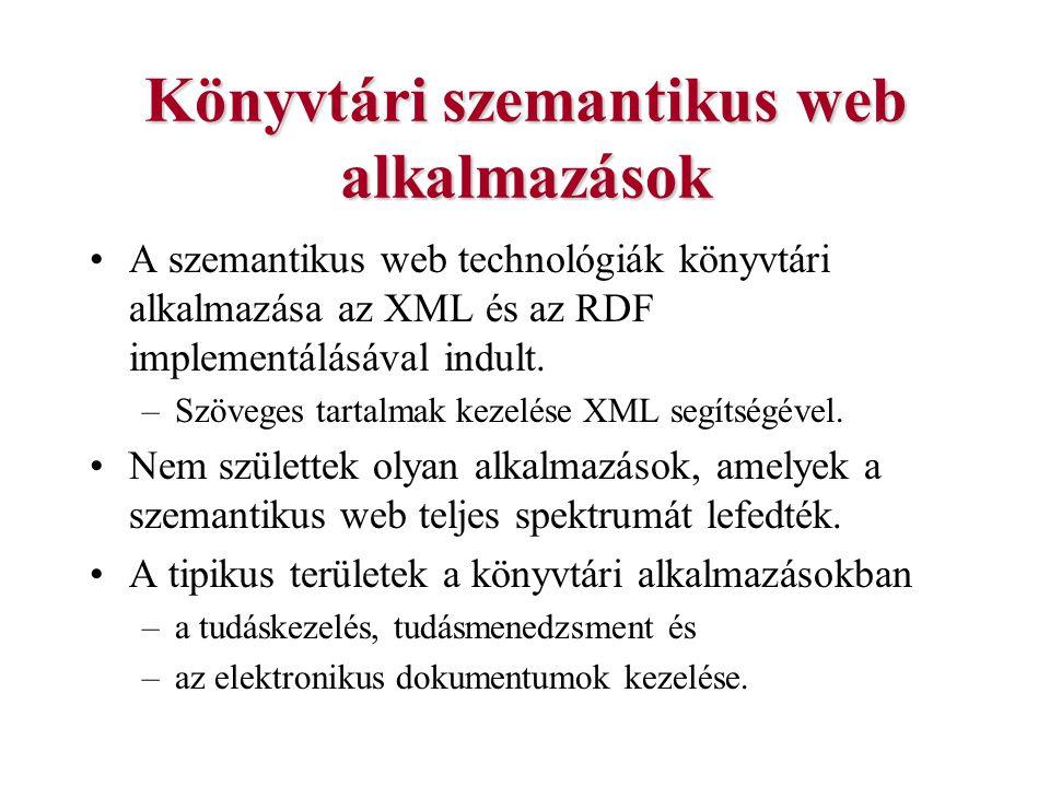 Könyvtári szemantikus web alkalmazások A szemantikus web technológiák könyvtári alkalmazása az XML és az RDF implementálásával indult. –Szöveges tarta