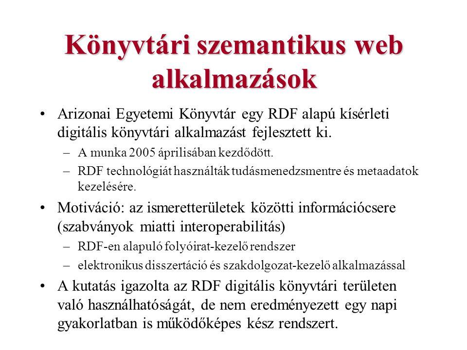 Könyvtári szemantikus web alkalmazások Arizonai Egyetemi Könyvtár egy RDF alapú kísérleti digitális könyvtári alkalmazást fejlesztett ki. –A munka 200