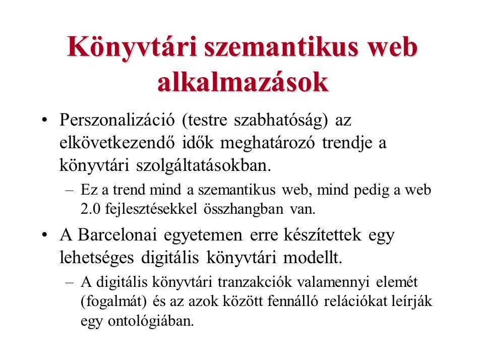 Könyvtári szemantikus web alkalmazások Perszonalizáció (testre szabhatóság) az elkövetkezendő idők meghatározó trendje a könyvtári szolgáltatásokban.