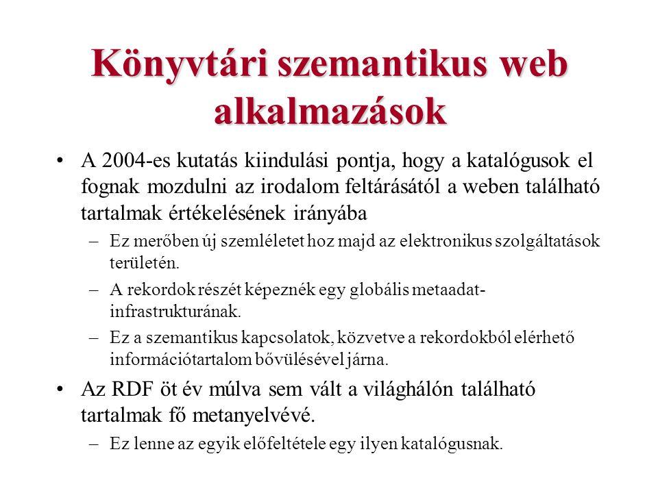 Könyvtári szemantikus web alkalmazások A 2004-es kutatás kiindulási pontja, hogy a katalógusok el fognak mozdulni az irodalom feltárásától a weben tal