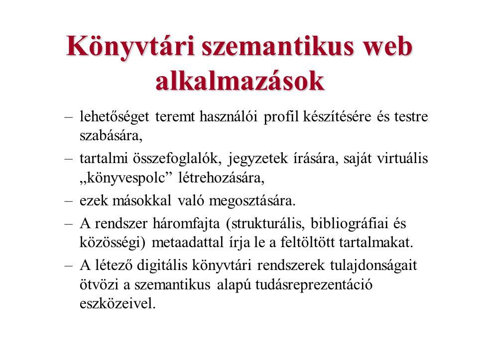 Könyvtári szemantikus web alkalmazások –lehetőséget teremt használói profil készítésére és testre szabására, –tartalmi összefoglalók, jegyzetek írásár