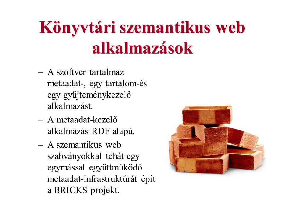 Könyvtári szemantikus web alkalmazások –A szoftver tartalmaz metaadat-, egy tartalom-és egy gyűjteménykezelő alkalmazást. –A metaadat-kezelő alkalmazá