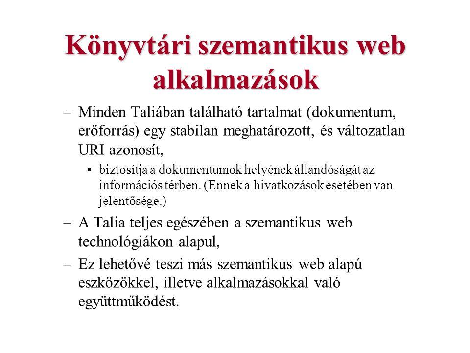 Könyvtári szemantikus web alkalmazások –Minden Taliában található tartalmat (dokumentum, erőforrás) egy stabilan meghatározott, és változatlan URI azo