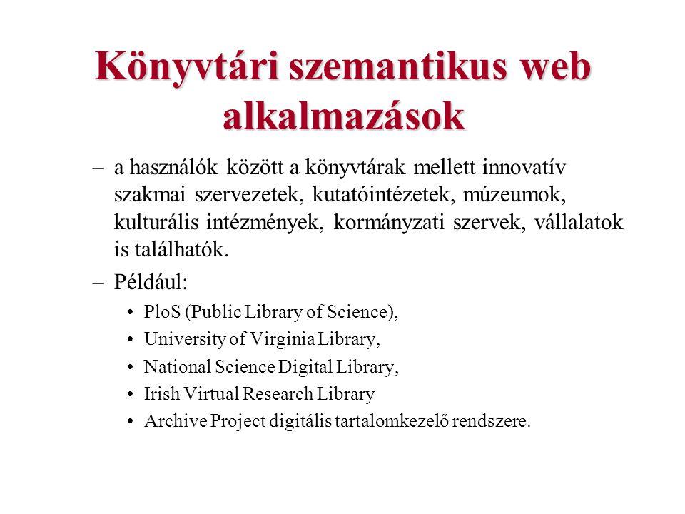 Könyvtári szemantikus web alkalmazások –a használók között a könyvtárak mellett innovatív szakmai szervezetek, kutatóintézetek, múzeumok, kulturális i