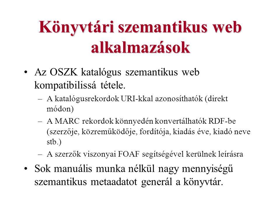 Könyvtári szemantikus web alkalmazások Az OSZK katalógus szemantikus web kompatibilissá tétele. –A katalógusrekordok URI-kkal azonosíthatók (direkt mó