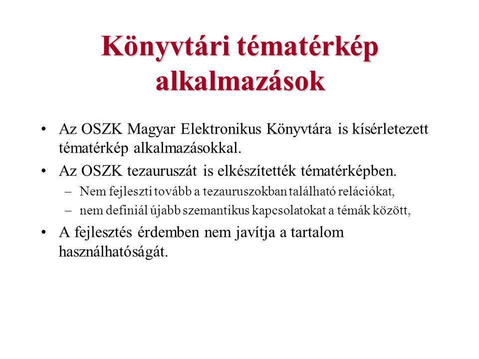 Könyvtári tématérkép alkalmazások Az OSZK Magyar Elektronikus Könyvtára is kísérletezett tématérkép alkalmazásokkal. Az OSZK tezauruszát is elkészítet