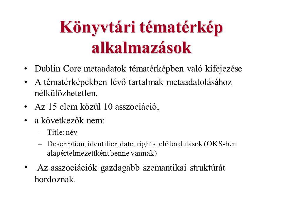 Könyvtári tématérkép alkalmazások Dublin Core metaadatok tématérképben való kifejezése A tématérképekben lévő tartalmak metaadatolásához nélkülözhetet